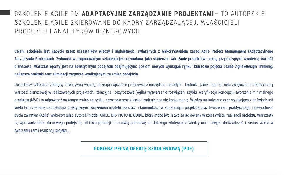 Witalni.pl - AGILE PM Adaptacyjne Zarządzanie Projektami - szkolenia biznesowe