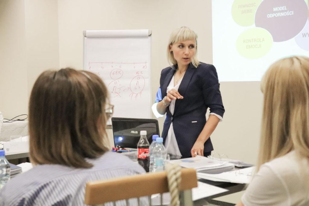 Trener Katarzyna z uczestnikami szkolenia Obługa Trudnego Klienta