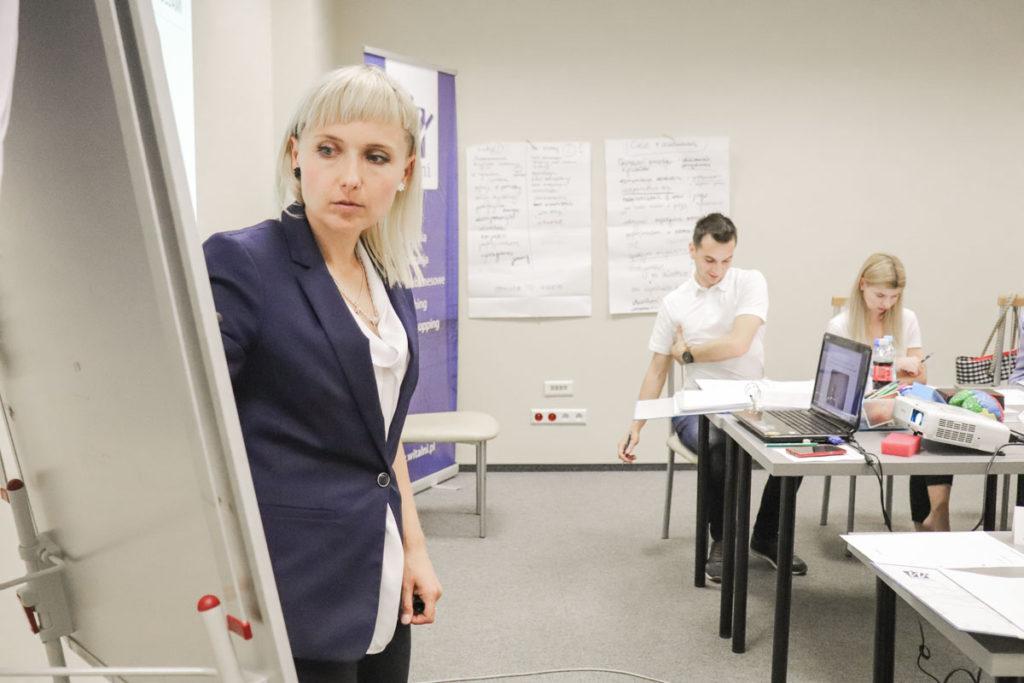 Trener Katarzyna omawia z grupą cechy charakteru, które pozwalają lepiej odnaleźć się w kontakcie z wymagającym Klientem